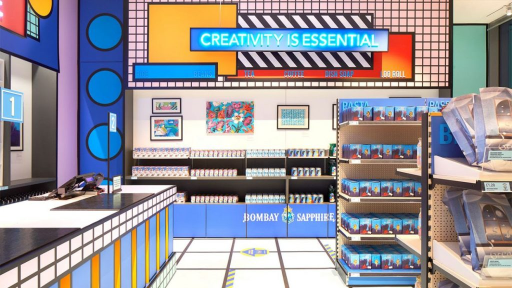 Bombay Sapphire create 'Supermarket' installation at the Design Museum that sells creativity